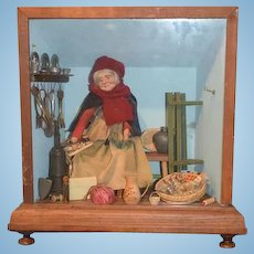Wonderful Doll In Diorama Peddler Lady W/ Miniatures Carved Wood Doll