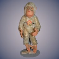 Old Monkey Steiff Jocko W. Chest Tag Mohair Jointed Petite Size for Doll