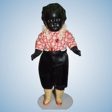 Antique Doll Black Bisque Head Cabinet Size Glass Eyes Sweet Petite Size