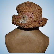 Old Sweet Doll Straw Hat Fancy Floppy Folded Brim Bonnet