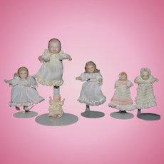 Vintage Doll Set Miniature Bisque Artist Dolls Dollhouse