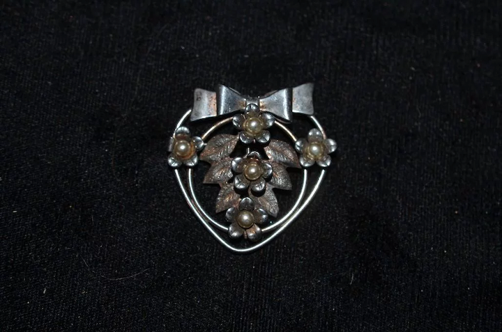 eb3ddf0a3 Old Chunky Sterling Silver Brooch Pin Ornate : Oldeclectics   Ruby Lane