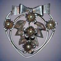 Old Chunky Sterling Silver Brooch Pin Ornate