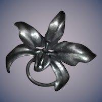 Old Sterling Silver Heavy Flower Brooch Pin Fancy