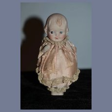 Antique Doll All Bisque Jointed W/ Old Silk Puffy Outfit Miniature Dollhouse