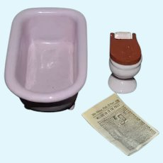 Vintage Doll Miniature Dollhouse Enamel Bath Tub Porcelain Toilet and Miniature News Paper