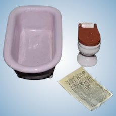 Vintage Doll Miniature Dollhouse Enamel Bath Tub Porcelain Toilet and Miniature News Paper
