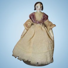 Antique Doll Miniature Carved Wood Jointed Pegged Fancy Hair Style Dollhouse