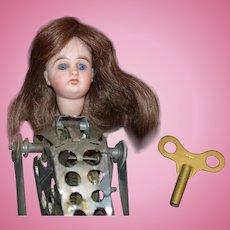 Antique Doll Bisque Head Mechanical Wind up Metal Body Unusual Acrobat
