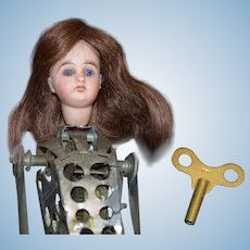 Antique Doll Bisque Head Mechanical Wind up Metal Body Unusual Acrobat
