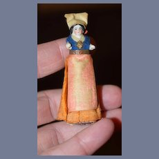 Antique Doll Miniature Dollhouse China Head Fancy Clothes Pincushion