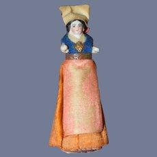 Antique Doll Miniature Dollhouse China Head Fancy Clothes Pincushion