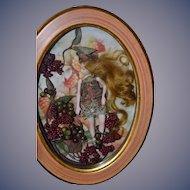 Wonderful Artist Doll Fairy Doll Framed in Glass Wood Frame Sweet!