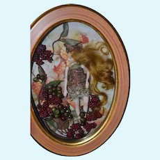 Wonderful Artist Doll Fairy Doll Framed in Glass Wood Frame Sweet!
