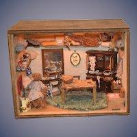 Wonderful Diorama Dollhouse Miniature Bear Sewing Work Shop W/ Bear FILLED MINIATURES