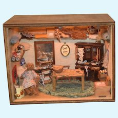 Wonderful Diorama Dollhouse Miniature Bear Sewing Work Shop W/ Bear FILLED MINIATURES