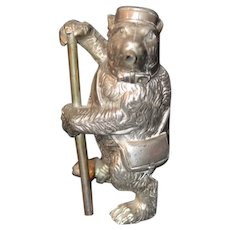 Old Unusual Silver Metal Smoking Bear Lidded Figurine Miniature Wonderful Teddy Bear