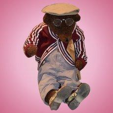 "Huge Artist Teddy Bear Jointed Dressed B&D Originals Dressed W/ Newspaper 28"" Tall"