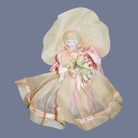 Antique Doll Frozen Charlotte China Head Doll W/ Antique Clothing FAB