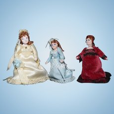 Wonderful Miniature Doll Set Artist Made TINY Fancy Dressed Jointed Dollhouse