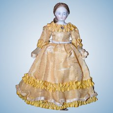 Antique Doll China Head Biedermeier Gorgeous Nicely Dressed Miniature Dollhouse