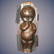 Old German Tin Doll Chocolate Mold Candy Larger Chunky