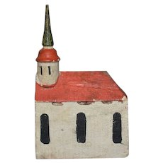 Old Wood Miniature Doll Dollhouse Church Carved Wood Hand Painted Folk Art