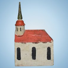 Old Wood Miniature Doll Dollhouse Church Carved Wood Hand Painted Folk Art