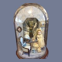 Wonderful Diorama Room Box Glass Dome W/ Miniature Artist Doll and Furniture Accessories