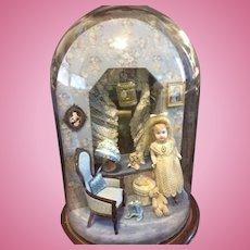 Wonderful Diorama Room Box Glass Dome W/ Miniature Artist Doll and Furniture Accessories