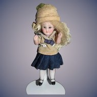 Antique Doll All Bisque Jointed Glass Eyes French Market Miniature Dollhouse Petite Size