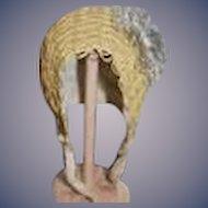Wonderful Old Straw Bonnet Hat Doll Fancy