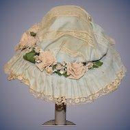 Old Doll Hat Lace Fancy Flowers Bisque Doll  Bonnet