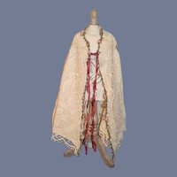 Old Doll Lace Flower Trimmed Cape Wonderful
