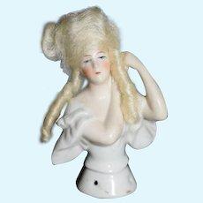 Antique Doll Half Doll Fancy W/ Mohair Wig Unusual China Head