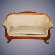 Antique Doll Sofa Coach Miniature Dollhouse