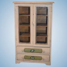 Old Doll Cupboard Glass Front Cabinet Miniature Tole Painted