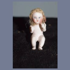 All Bisque Doll Miniature Piano Baby Dollhouse Mohair Wig Character