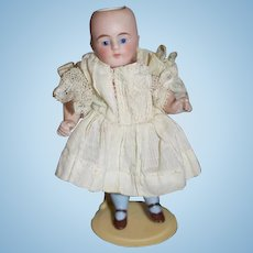 Antique Doll All Bisque Jointed Arms Glass Eyes Frozen Body Miniature Dollhouse