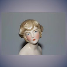Old Doll Bust China Turned Head On Stand Miniature