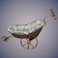 Artist Doll Buggy Wicker Metal Wheels Pram