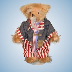 Artist Teddy Bear Jointed Uncle Sam Dressed and Mohair