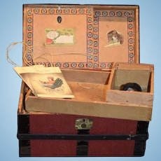 Wonderful Old Doll Trunk Miniature W/ Removable Tray
