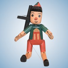 Artist Made Doll Pinocchio Jointed Wood Carved Puppet
