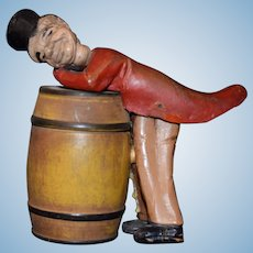 Old Doll Carved Wood Character Over Barrel Opens and Closes