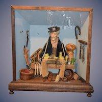 Wonderful Doll in Diorama Peddler Man W/ Accessories Wood & Glass Case Miniature Dollhouse