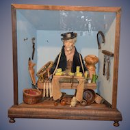 Wonderful Doll in Diorama Peddler Man W/ Accessories Wood & Glass Case Miniature Dollhouse