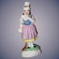 Antique Staffordshire Girl Doll Figurine Wonderful Miniature Dollhouse