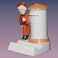 Old Doll Bellhop Hat Pin Holder & Lipstick Holder German
