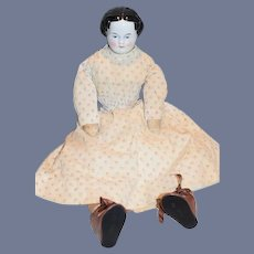 Antique Doll Large China Head Center Part Sweet Dressed High Brow